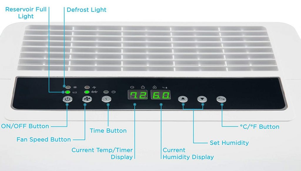 Ivation IVAESDH50P Dehumidifier Control Panel