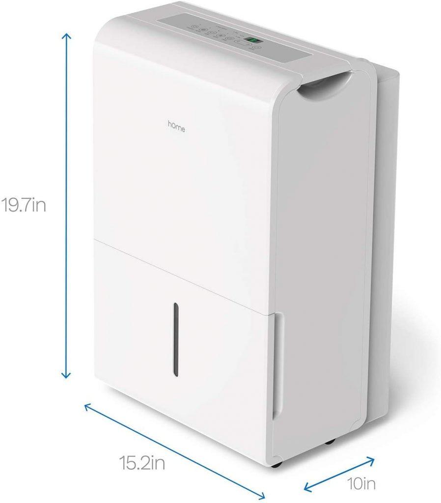 hOmeLabs 22-pint dehumidifier size illustration
